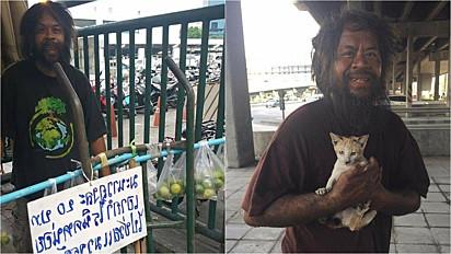 Morador de rua vende limões para garantir alimento para gatos abandonados.
