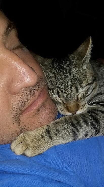 Luis e o gatinho Darwin.