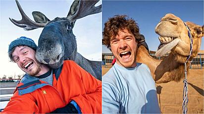 Homem tira fotos hilárias com animais selvagens.