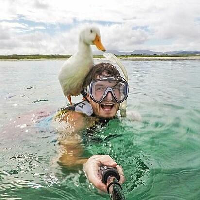 Esquivando-se e mergulhando. Esta menina me treinando na natação. Um momento tão mágico.