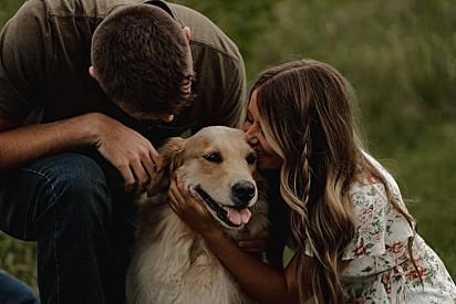 Molly é a cachorra da noiva e o noivo fez questão que ela estivesse presente nos registros.