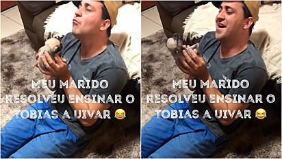 Homem ensina seu filhote de cachorro a uivar.