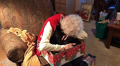 A idosa não se conteve e entre beijos e abraços foi às lágrimas.