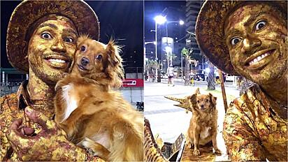 Artista de rua e cachorrinha protagonizam lindas performances no centro de Fortaleza.