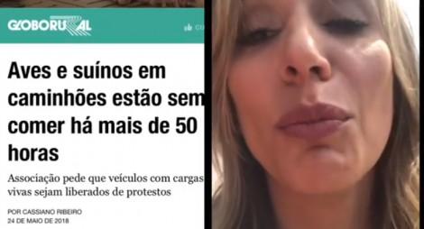 Luisa Mell faz apelo para que os caminhoneiros em greve alimentem os animais nas carretas
