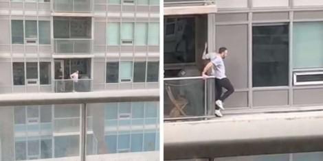 Homem corajoso arrisca sua vida para salvar gato de apartamento vizinho