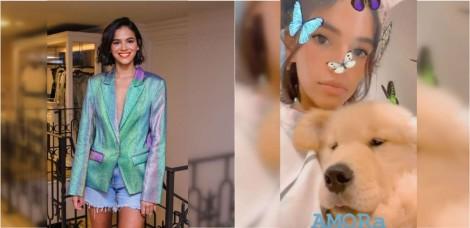 Bruna Marquezine ganha filhote de golden retriever e compartilha a sua chegada nas redes sociais