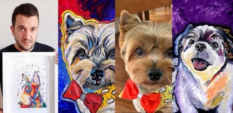 Artista plástico de Curitiba cria quadros personalizados de animais de estimação e obras são encantadoras; confira fotos
