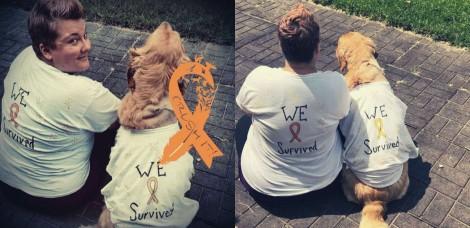 Golden Retriever e dona superam o câncer juntas com direito a camisetas combinando