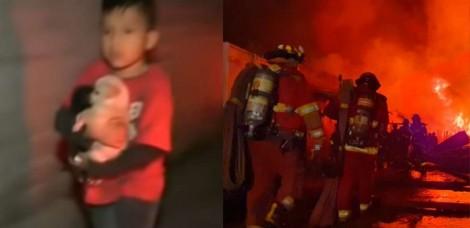 Menino de 10 anos salva filhotes de incêndio que destruiu sua casa no Peru