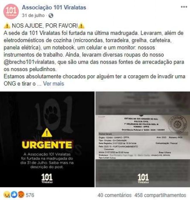 Foto: Facebook / Associação 101 Viralatas